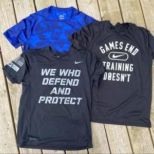 Men's Nike under Armour black blue T-shirt bundle